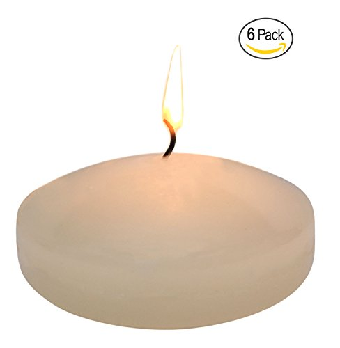 Floating disc Candles for Wedding, Birthday, Holiday & Home Decoration by Royal Imports, 3 Inch, Ivory Wax, Set of 6