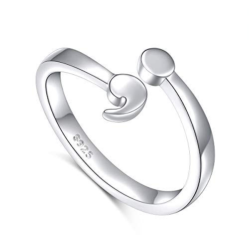 Ladytree Sterling Silver Semicolon Unadjustable Ring Suicide Awareness Jewelry (Without Engraved, 6)