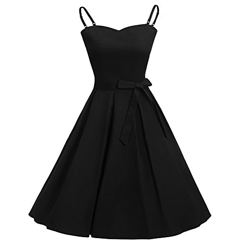 Women's Vintage Hepburn Bowknot Sexy Strappy Evening Party Cocktail A Line Dress Plus Size 80s Cocktail Dresses