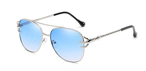 soleil en style rond cercle inspirées polarisées Lennon de métallique Dégradé retro du Bleu lunettes vintage pHAaqa