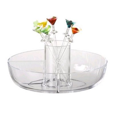 - PRODYNE Happy Hour Garnish Server with Colorful Acrylic Martini Picks (Set of 6) MM-7-C