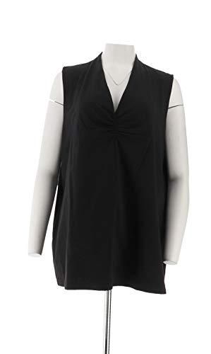 Liz Claiborne NY Essentials V-Neck Knit Top Black 3X New A254849