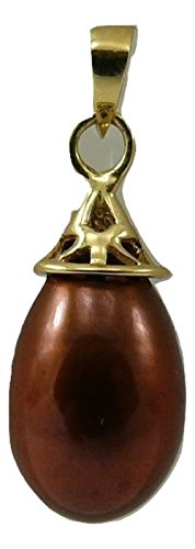 Vics Fine Jewelry Fresh Water Chocolate Color Pearl Pendant 14k Yellow ()