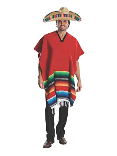 Rubie's Heroes And Hombres Adult Hombre Costume Poncho And Sombrero, Red, ()