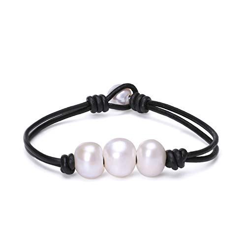 (Fashion Braided Leather Knotted Bracelet Handmade Pearls Jewelry for Lady Black)