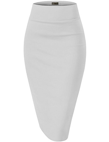 (Womens Premium Stretch Office Pencil Skirt KSK45002 White 2X)