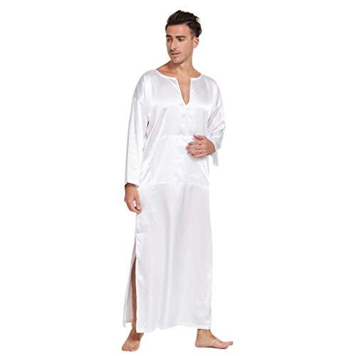 (WFeieig Mens Satin Nightshirt Summer Long-Sleeved Thin Section Silk Silk Head Men's Nightgown Home Service Pajamas White)