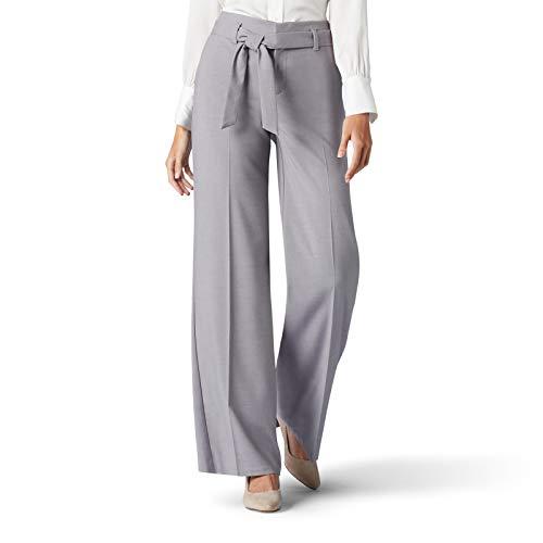 LEE Women's Flex Motion Regular Fit Wide Leg Self Tie Pant, Boulder Gray, 10