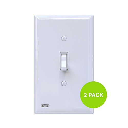 2 Pack SnapPower SwitchLight - Light Switch Cover Plate With Built-In LED Night Light - Add Ambience Lighting To Your Home In Seconds - (Toggle, White) (Add Outlet Light Switch)