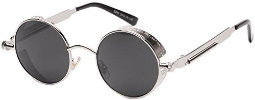 Vivian & Vincent Vintage Hippie Retro Metal Round Circle Frame Sunglasses Silver Frame Black (Hot Hippie Halloween Costumes)
