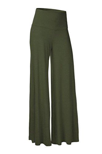 Las Mujeres De Cintura Elastica Alta Llanura Casual Yoga Pantalones De Pierna Ancha Deportes Full Length Navygreen