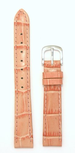 Ladies Alligator Grain Leather Watchband Coral Pink 12mm Watch Band - by JP Leatherworks