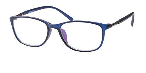 - SOOLALA Lightweight TR90 Full Frame Oversized Clear Lens Eyeglasses Reading Glasses, Blue, 1.0D