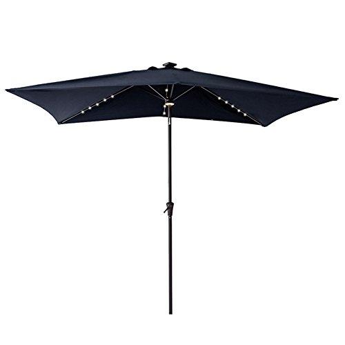 FLAME&SHADE Rectangular Patio Umbrella with LED Lights, Crank Lift, Push Button Tilt, 6 foot 6inch x 10 foot, Navy Blue (Patio Rectangular Umbrellas)