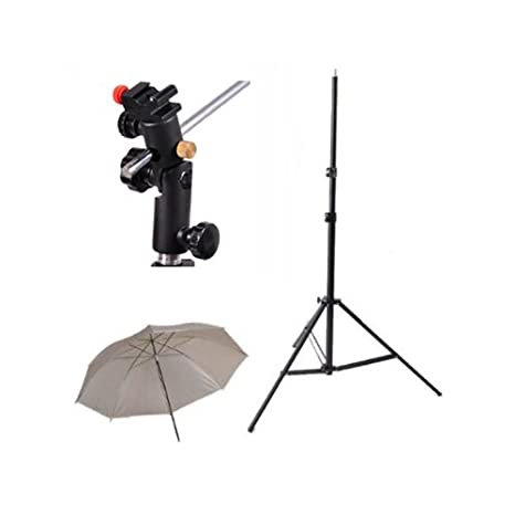 CowboyStudio Single Flash Shoe Swivel Bracket Kit with 1 Mounting Bracket, 1 Umbrella, and 1 Stand Stand Cowboy Studio singleflashmountB+softumbrella+7ft