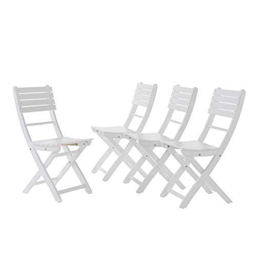 GDF Studio Vicaro | Acacia Wood Foldable Outdoor Dining Chairs | Set of 4 | Perfect for Patio | with WhiteFinish