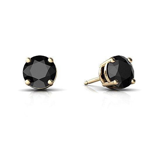 14kt Yellow Gold Black Onyx 6mm Round Round Stud Earrings