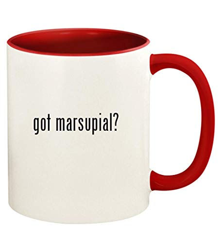 got marsupial? - 11oz Ceramic Colored Handle and Inside Coffee Mug Cup, Red
