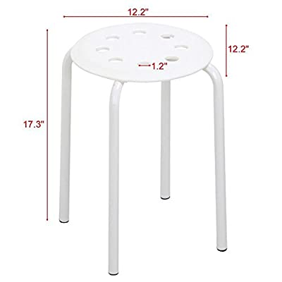 go2buy 5 Color Portable Plastic Stackable Stools Round Top Backless/Armless Bar Stools Set