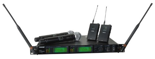 Shure UR4D+ Dual Channel Wireless System with Two UR1 Bodypacks and Two UR2/SM58 Handheld Transmitters Band (Ur4d Dual Channel Receiver)