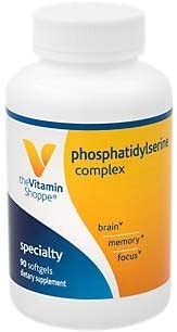 Phosphatidylserine Complex 500mg Softgel Supports Healthy Brain Cognitive Function, Promotes Memory, Focus Brain Activity 500mg of SharpPS ,Branded Ingredient 90 Softgels by The Vitamin Shoppe