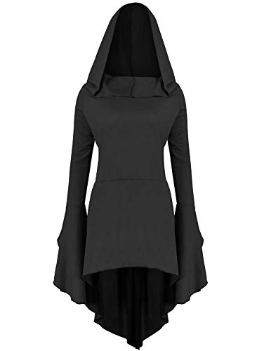 Gemijack Womens Renaissance Costumes Hoodies Long Sleeve High Low Medieval Dress Lace Up Hooded Cloak -