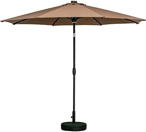 10フィートパティオ傘換気3年非フェージングトップ8リブ240G先染め生地(コーヒー)40ソーラーLED照明付き屋外ガーデン表キャノピーマーケットアンブレラプール裏庭