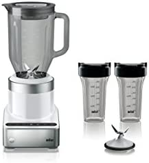 Braun JB7352 WHS PureMix Power Countertop Blender With Glass Jug Smoothie2Go Cups, 56 fl. oz, White