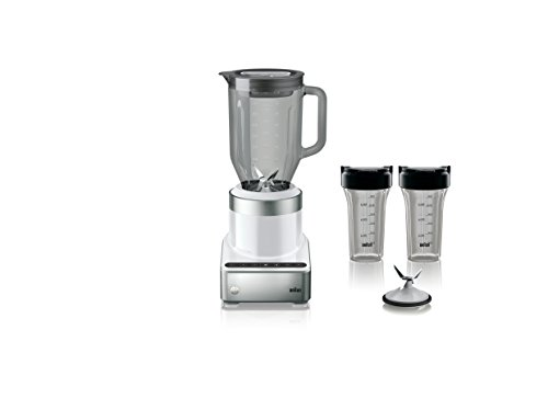 Braun JB7352 WHS Puremix Power Countertop Blender with Glass Jug and Smoothie2Go Cups, 56 fl. oz, White
