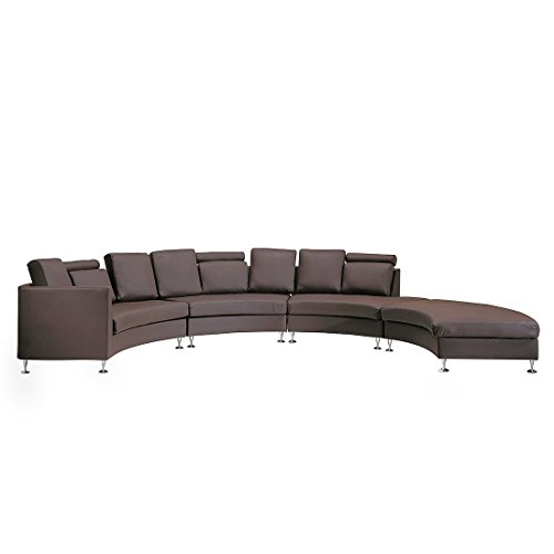 Beliani Rotunde Round Leather Sectional Couch Sofa, Brown