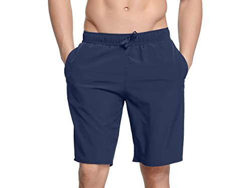 Sythyee Men's Swim Boardshorts Quick Dry Swim Trunks Beach Bottom Shorts with Pockets Navy Size XL - Navy Trunk