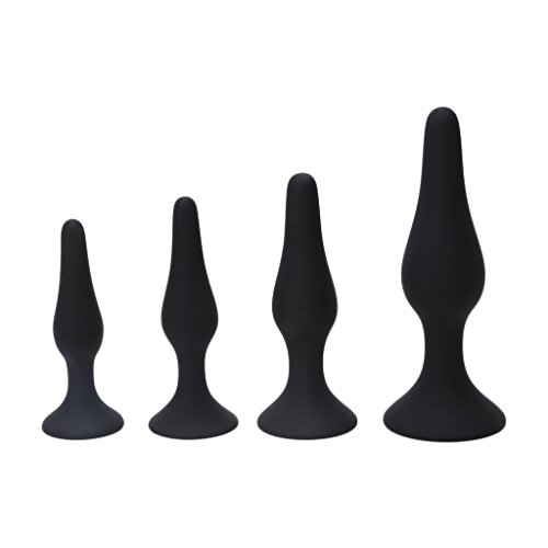 Fang sky 4 pcs Anal Plug Massager Adult Dildo Unisex Anal Silicone Sex Toys For Women, (black)