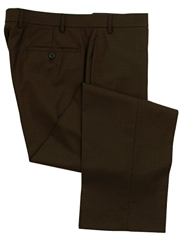 Ralph Lauren Wool Dress Pants For Men Classic Flat Front Style Trousers, Brown, 40W x 32L - Pleats Wool Trousers