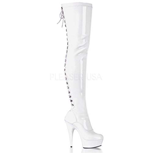 (Pleaser Women's Delight-3063 Thigh-High Boots White)
