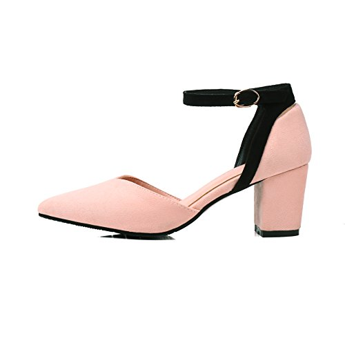 JIEEME Ladies Sweet Block Heels Buckle Strap Women Sandals Black Pink Casual Women Shoes Pink CHEeoEa23g