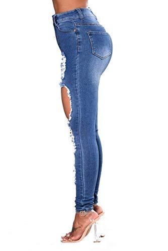 Scuro Strappati Jeans Vita Alta A Pantaloni Matita Fashion Donna Blu Hx Jegg Chic Skinny Attillati zwqA6BW
