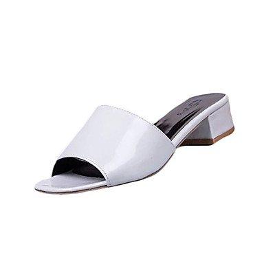 LvYuan Mujer-Tacón Bajo-Confort-Sandalias-Informal-PU-Negro Blanco Caqui White