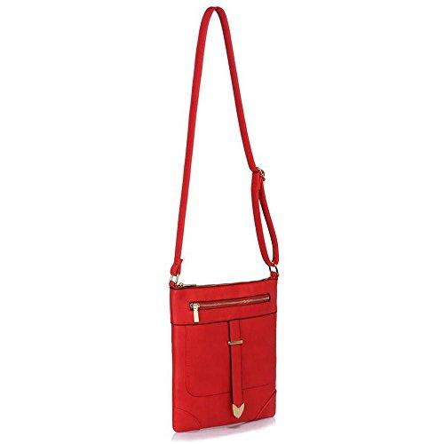 TrendStar - Bolso bandolera Mujer A-Red Cross Body Bag