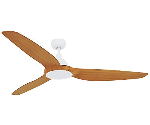 Lucci Air Type A 3 Indoor DC Motor Ceiling Fan with Remote Control, 60-inch, White with Teak Blades