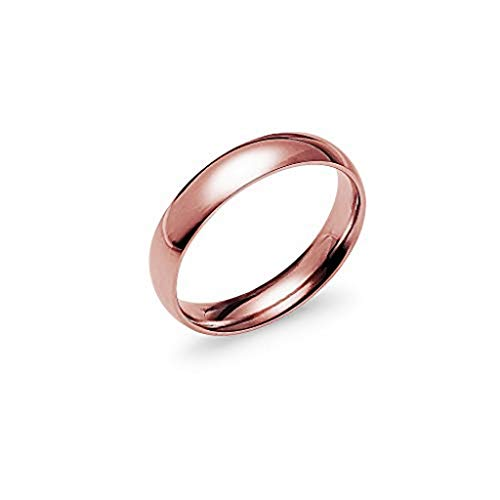 Rose Ring Pink (Silverline Jewelry High Polish 4mm Comfort Fit Wedding Band Ring Stainless Steel Rose Gold Tone Size 7)