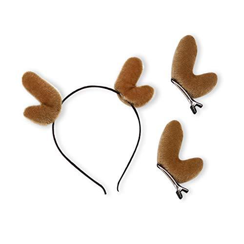 (Christmas Elk Antler Headband Cartoon Headband and 2 Pieces Christmas Antler Hair Pins for Women Girls(Small Antlers,)