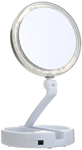 Floxite 10x plus 1x Lighted Folding Vanity & Travel Mirror by Floxite