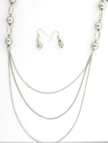 (Triple Tier Draped with Rings and Beaded Chain Necklace and Earrings Set)