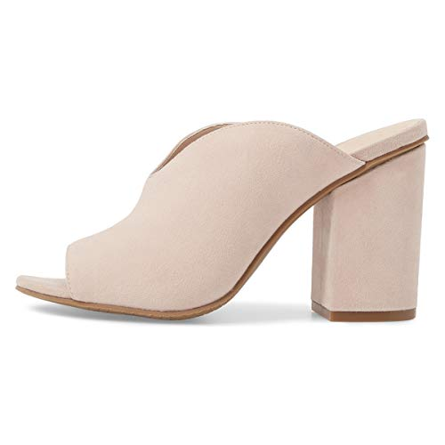 Women Vcut on Shoes Slip High Chunky Heel Peep with Nude Toe Pumps Mules Casual YDN OxqdanO