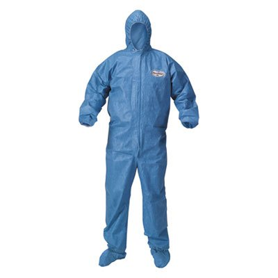 (KleenGuard A60 Blood and Chemical Splash Protection Coveralls, Large, Blue, 24/Carton )