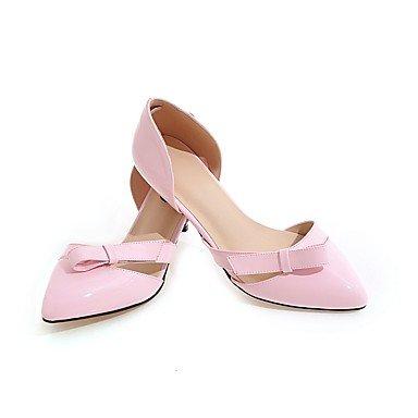 Talones de las mujeres Primavera Verano Otoño Club de los zapatos de cuero oficina y carrera del partido y vestido de noche bajo el talón del Bowknot Amarillo Negro Blanco Rosa Yellow