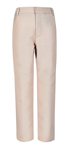 (Bienzoe Boy's School Uniforms Stretchy Polyester Adjust Waist Dress Pants Khaki 10)