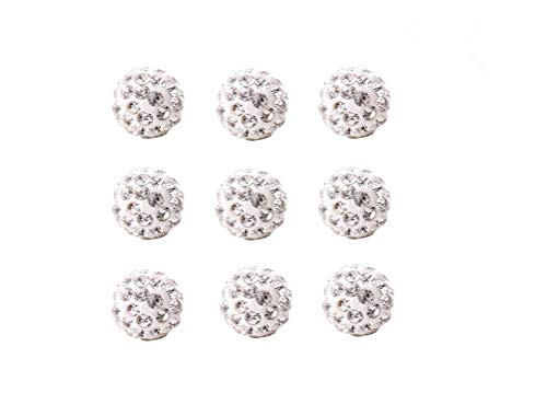 10mm Clay Pave Disco Ball Rhinestone Crystal Shamballa Beads Jewelry Makings Charms Pack of 100 (White)
