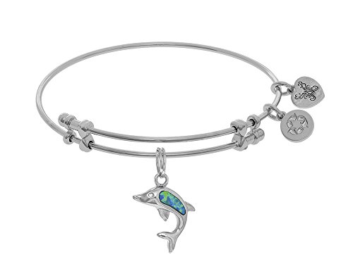 Angelica Collection Brass with White Created Opal Single Dolphin Charm On White Bangle