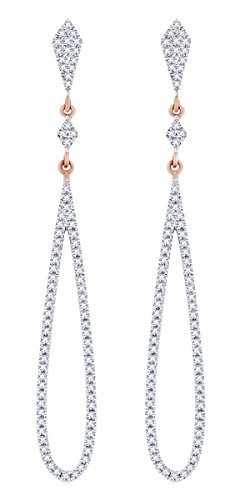 Rount Cut White Natural Diamond Pave Dangle Open Tear-Drop Earring in 14K Rose Gold (0.39 Cttw)